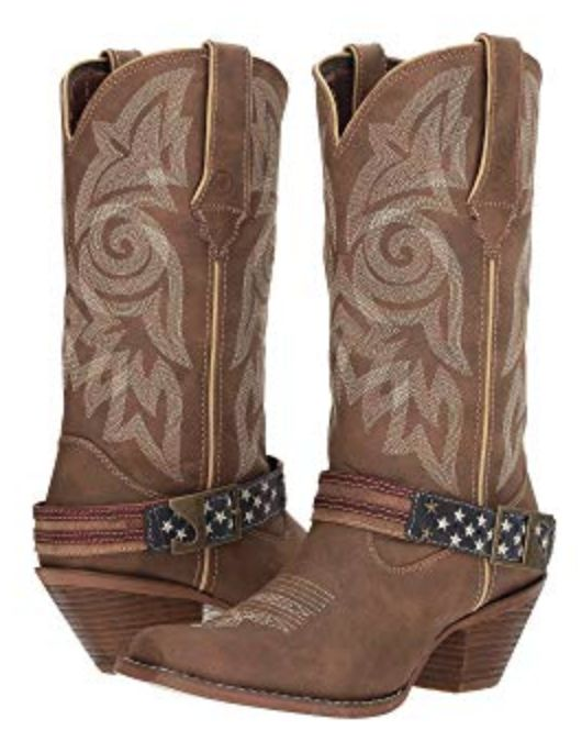 Cowboy Boots with Flag Acessory Strap