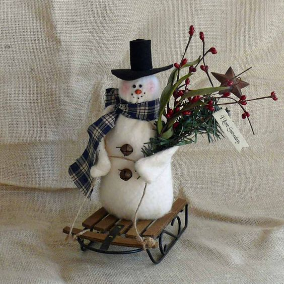 Sledding Little Snowman by SnowmanCollector on Etsy, $15.50