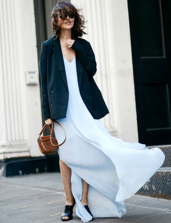 slip dress and blazer - a good look - found via Tendances de Mode: