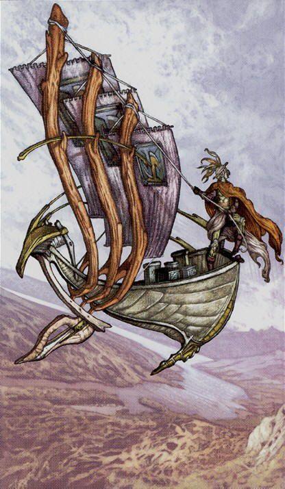 3 de bâtons - Universal Fantasy Tarot par Paolo Martinello