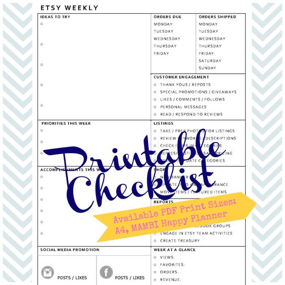 shop weekly checklist - planning printable - list of Etsy shop tasks