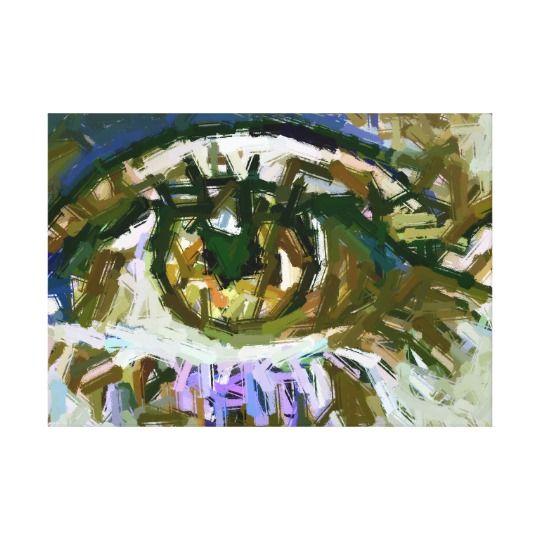 Womans Green Eye Abstract Art Canvas Print