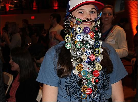 """Becky Gosselin of Framingham was the champion of the largest category, """"Best Fake Beard'' at Somerville's Beardfest 2012."""