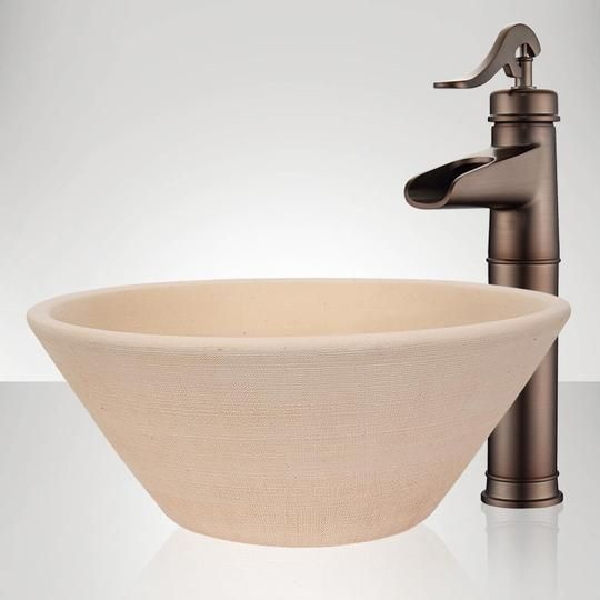 Handcrafted Conical Ceramic Vessel Sink Ivory Modern Master Bathroom Sink Ceramic Vessel