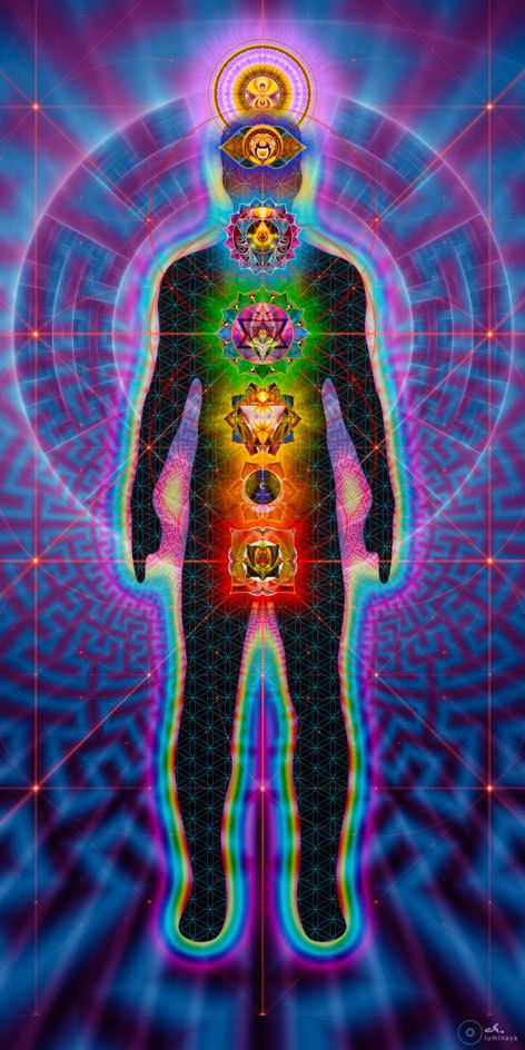 Chakras Body Charger Sacred Geometry Visionary art by luminaya, $265.00