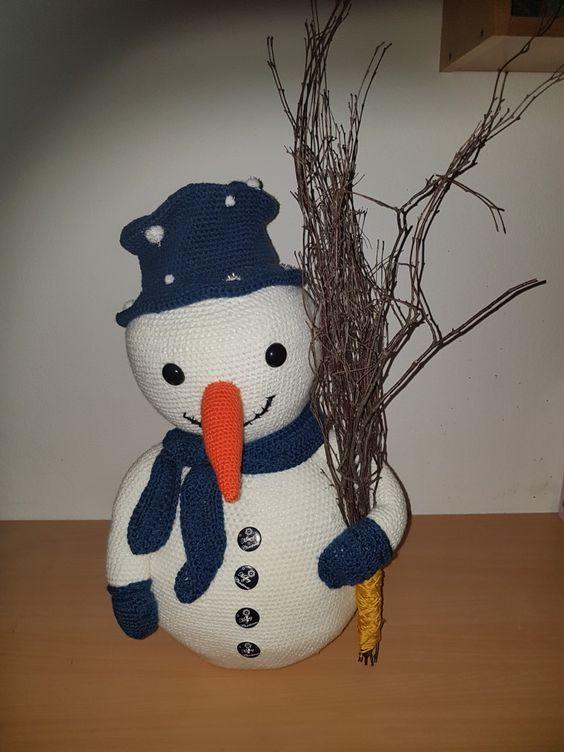 Grote Gehaakte Sneeuwpop 65 Cm Hoog Sneeuwpop Haken Haakpatronen