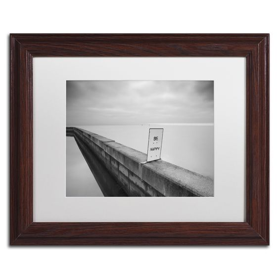Moises Levy 'Be Happy' Matte, Wood Framed Canvas Wall Art