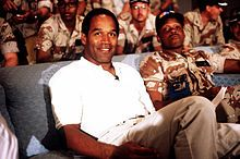 On June 13, 1994 Nicole Brown Simpsons and Ronald Goldman were murdered outside Nicole's house in Brentwood, CA. On June 17th, OJ and his friend Al Cowlings took flight from the police in his white Ford Bronco, in a low speed chase which ended up at his mansion where he surrendered.