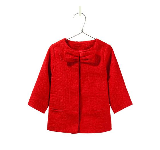 RED COAT WITH BOW - View All - Baby girl - Kids - ZARA United
