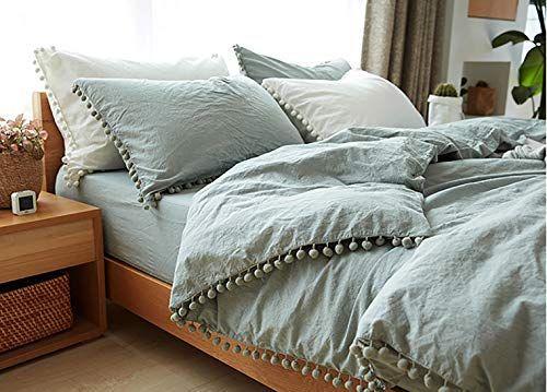 Amazon Com Tannicoor Pom Fringe Duvet Cover Set 3 Piece Natural Ultra Sofe Color Washed Cotton Bedding S Duvet Cover Sets Down Comforter Modern Duvet Covers