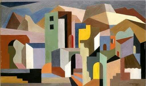 Architectural Form of Future Ideal Landscape by Enrico Prampolini  Born: 20 April 1894; Modena, Italy  Died: 17 June 1956; Rome, Italy   Date: 1921  Style: Cubism