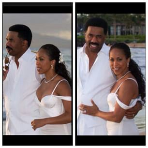 Marjorie Harvey and Steve Harvey in their wedding dress