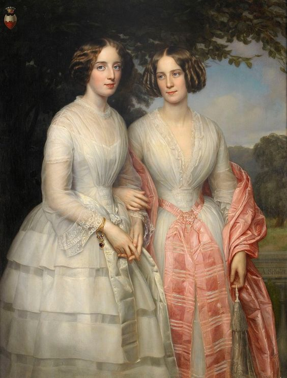 Reventlow sisters, Countesses Hilda Sophie Charlotte in pink and Malvina Anny Louise in white by August Heinrich Georg Schiøtt (auctioned by Stockholms Auktionsverk) the lost gallery:
