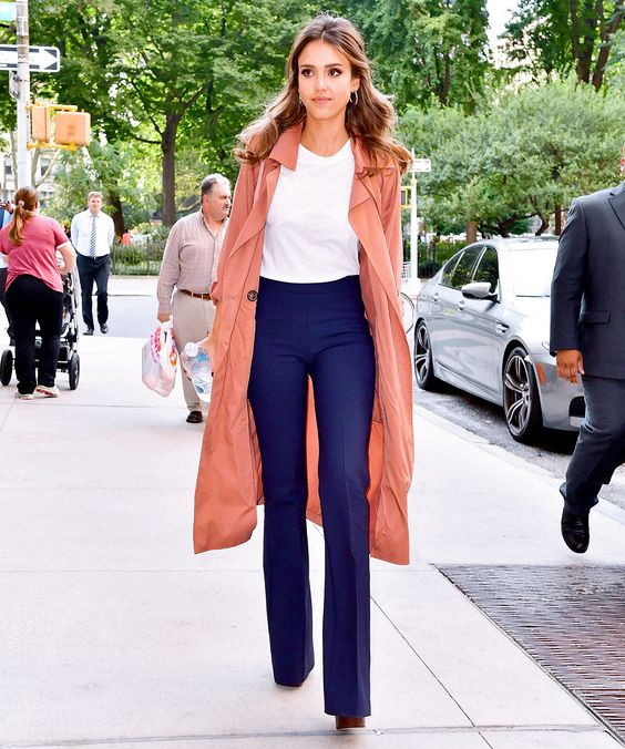 Jessica Alba Steps Out in Victoria Beckham Trousers and Light Trench Coat from InStyle.com