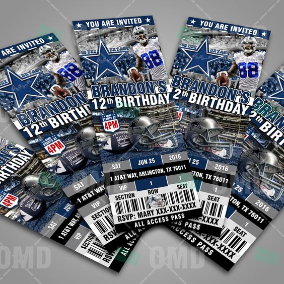 Dallas Cowboys Ticket Style Sports Party Invitations, great for Sports Fans of all ages. #sportsinvites