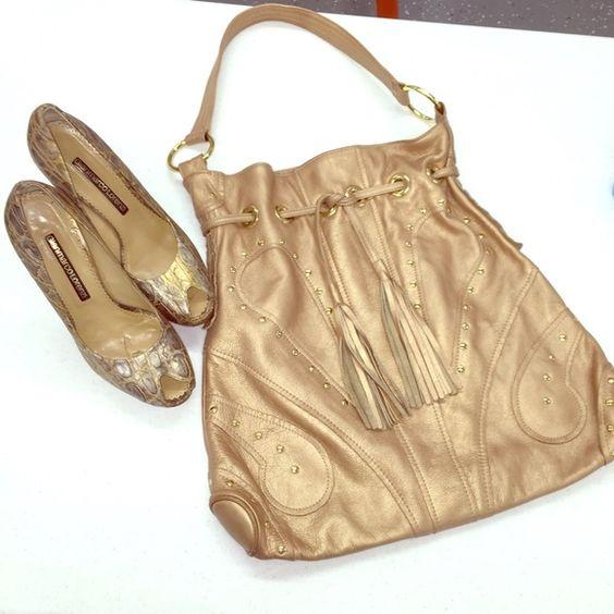 Bulga Gold Tote With Tassles & Gold Hardware/Studs Bulga Gold Tote Bulga Bags Totes