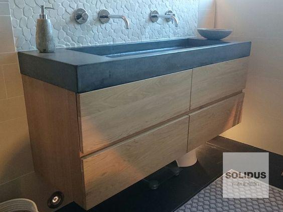 Op maat gemaakt badmeubel beton en hout badkamermeubel for Badkamermeubels hout