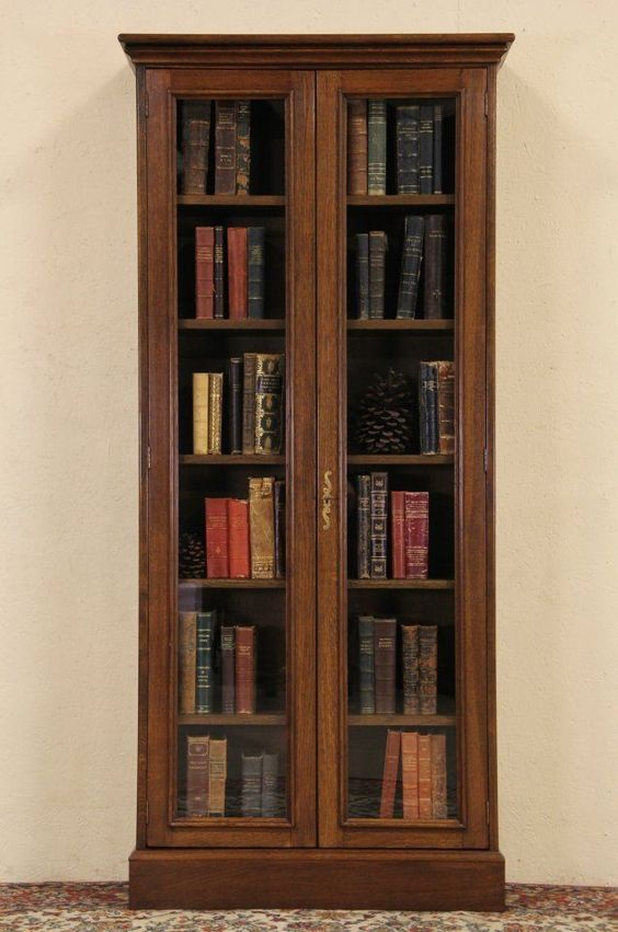 French Oak Vintage Tall Bookcase Or Display Cabinet Glass