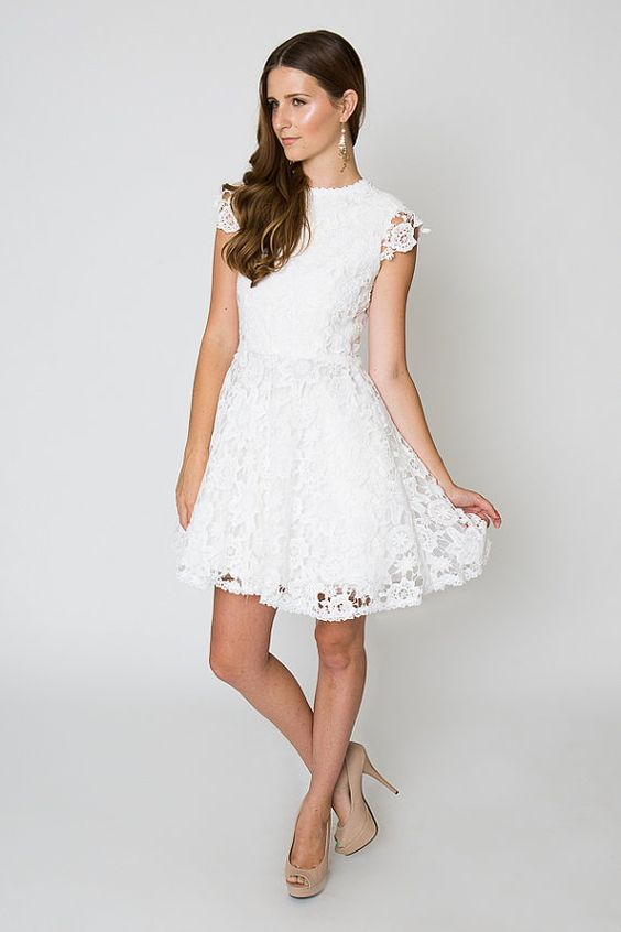 inspired short wedding dress lace crochet tulle full mini dress