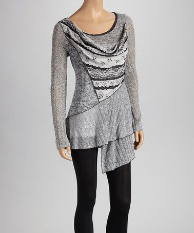 Take a look at this Black & Heather Gray Ruffle Tunic by Christine Phillipë on #zulily today!