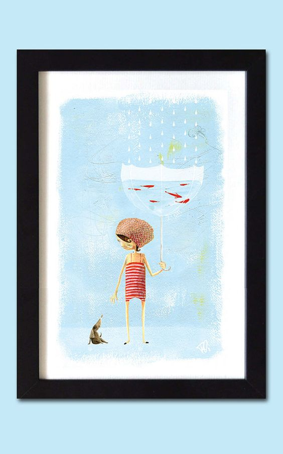 Items similar to Girl with Umbrella / A3 print on Etsy