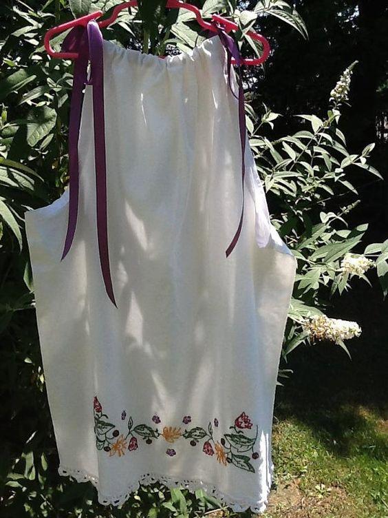 Vintage Upcycled Pillowcase Girls Dress by enchantedjourneyart, $25.00