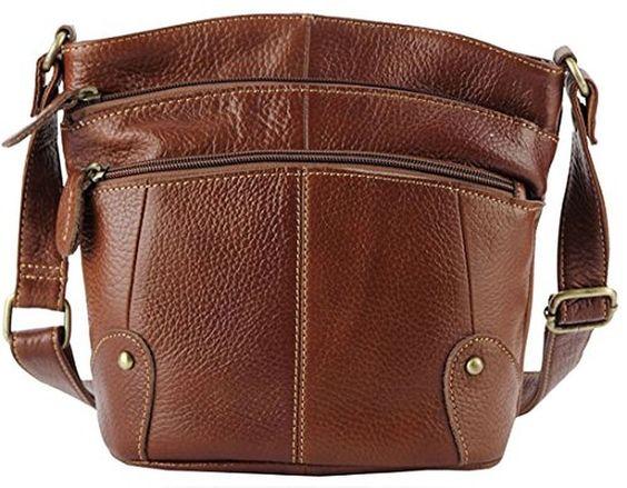 Heshe 2015 New Leather Vintage Hot Simple Style Shoulder Bag Satchel Zipper Closure Handbag for Women