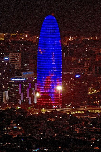 Colours on the night - Torre Agbar, Barcelona, Spain