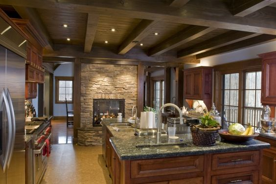 Rustic look in this room is granted by exposed ceiling beams rich