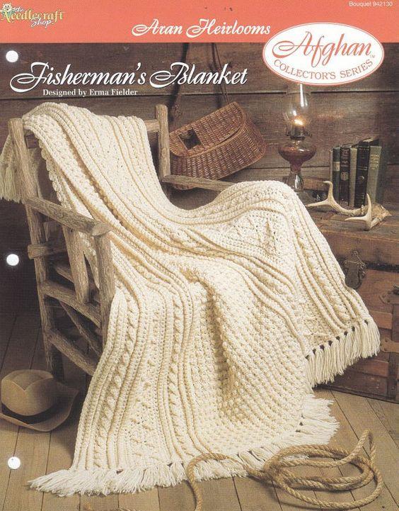 Crochet Pattern Aran Afghan : Aran Afghan Crochet Pattern - Fishermans Blanket Afghan ...