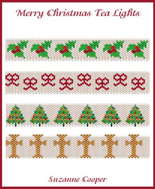 MERRY CHRISTMAS TEA LIGHTS Cover Beading Pattern | Bead-Patterns.com