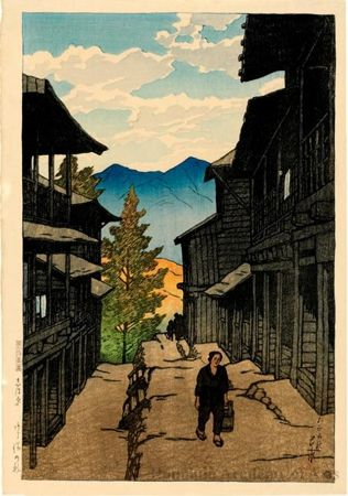 Object Title:  Autumn at the Arayu Spa, Shiobara  Series Title:  Souvenirs of Travel 1st. Series  Date:  1920  Artist:  Kawase Hasui Other Title:  Kanji : しほ原ハ(塩原) あら湯の秋 Series Kanji : 旅みやげ 第一集