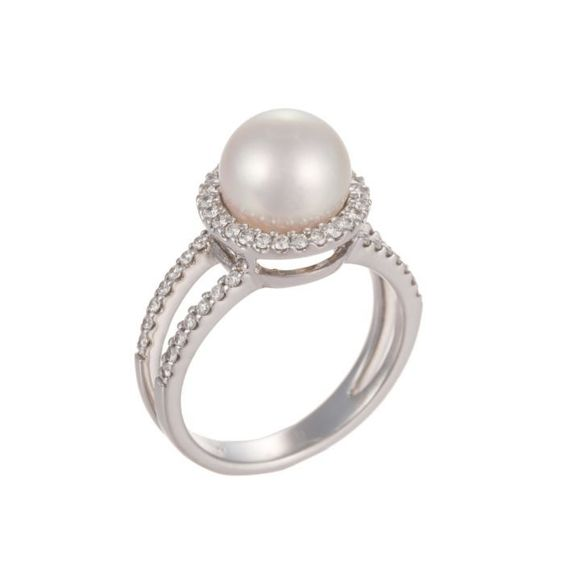 18K White Gold Halo Pearl & Diamond Ring ♥