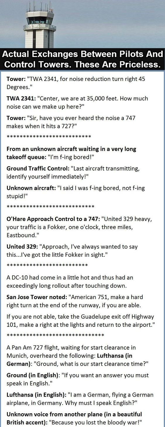 Actual Exchanges Between Pilots and Control Towers, hilarious