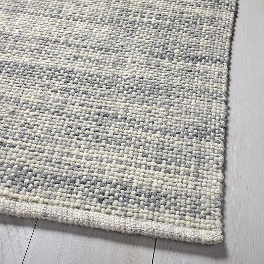 Mid Century Heathered Basketweave Wool Rug Steel In 2020 Wool Rug Solid Color Rug Modern Wool Rugs