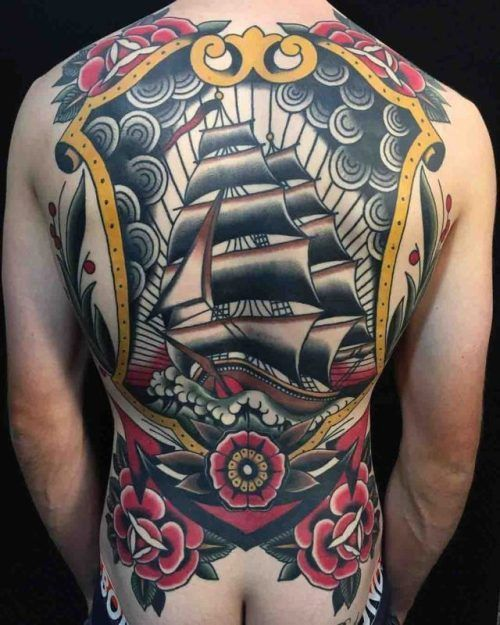 Traditional Clipper Ship Back Tattoo