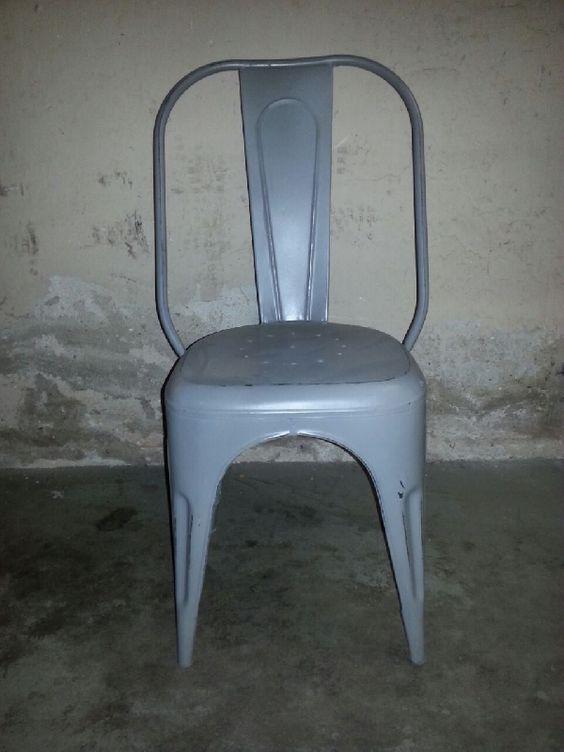 Stoere industri u00eble metalen vintage jaren 30 style stoelen, ook zeer geschikt voor horeca of aan