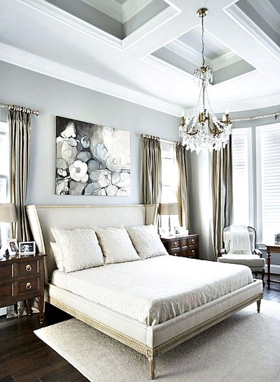 Monochromatic color palette boasting a dramatic ceiling for Monochromatic bedroom designs