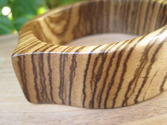 Wood Bangle  Natural  African Zebrawood  Zebra by inbloomdesigns, $40.00