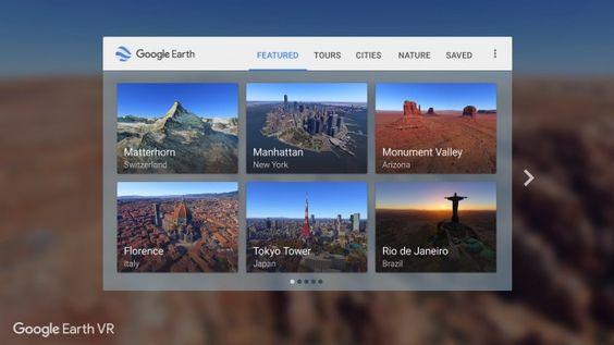 Das Hauptmenü von Earth VR für das HTC Vive (Bild: Steam/Google)