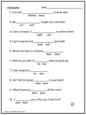 Worksheets 10th Grade Printable Worksheets these 10 worksheets explain the difference between homonyms and 4th grade english homophones words worksheets