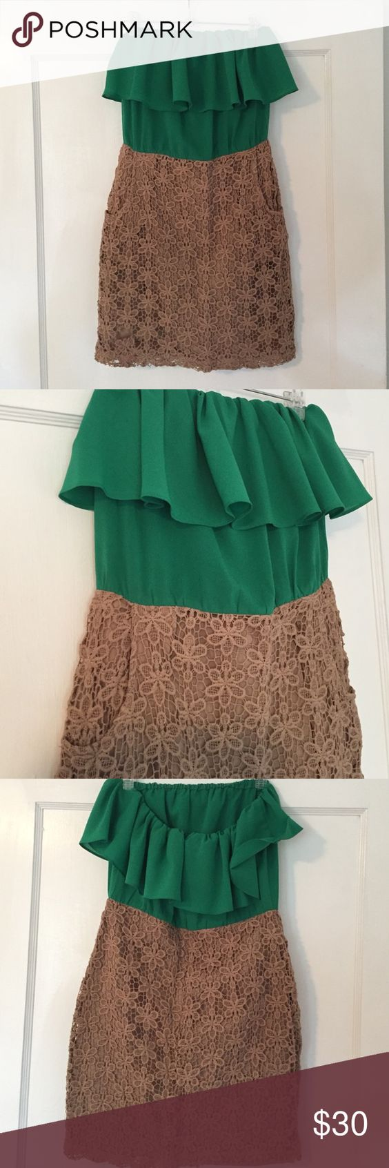 Ark and Co strapless dress Emerald green and beige mini dress with pockets. Bottom half is lace type material and top is chiffon. Worn one time(in the photo) and in great condition! Has a lining for the bottom part so it's not see through and top flattering and flirty. Ark & Co Dresses Strapless