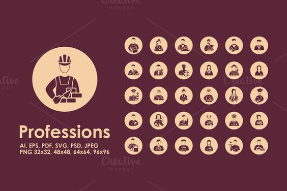 30 professions icons by Palau on @creativemarket