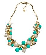 Carolee White Pearl Turquoise Cluster Charm Necklace