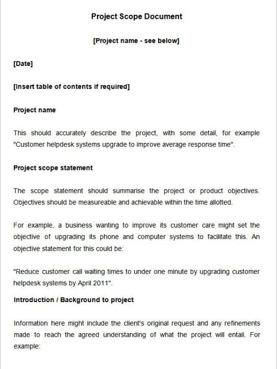 24 Free Scope Of Work Templates With Images Statement