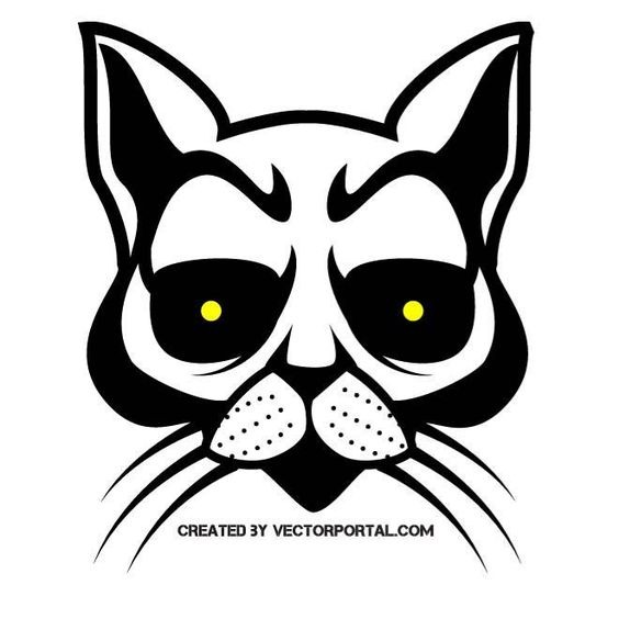cat skull vector drawing. | animal vectors | pinterest | katter