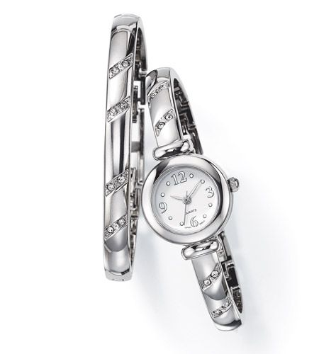 Rhinestone-accented silvertone watch and matching bracelet ...