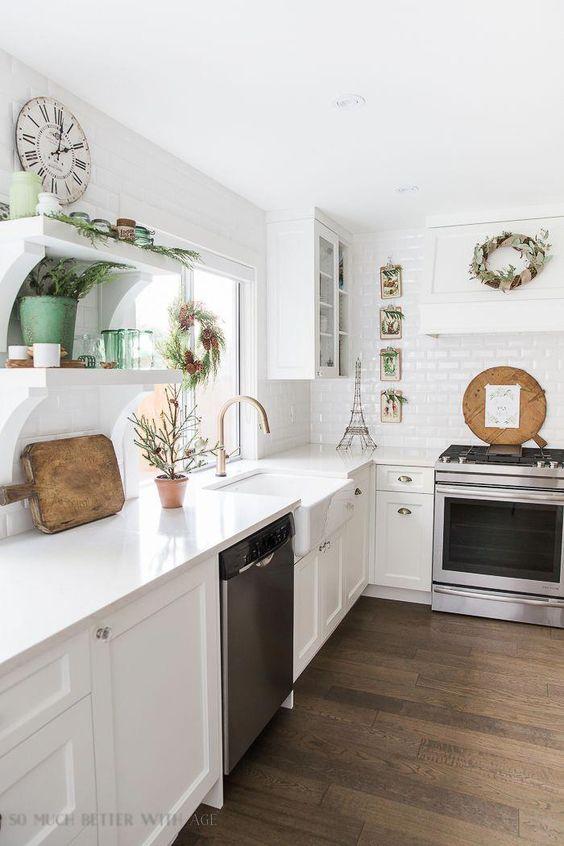 French Vintage Kitchen Christmas Tour/ White open kitchen - So Much Better With Age #ModernHomeDecorKitchen