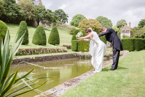 Fun in the gardens! | Catherine & Tristan at Mapperton. Photo credit David Craik Photography