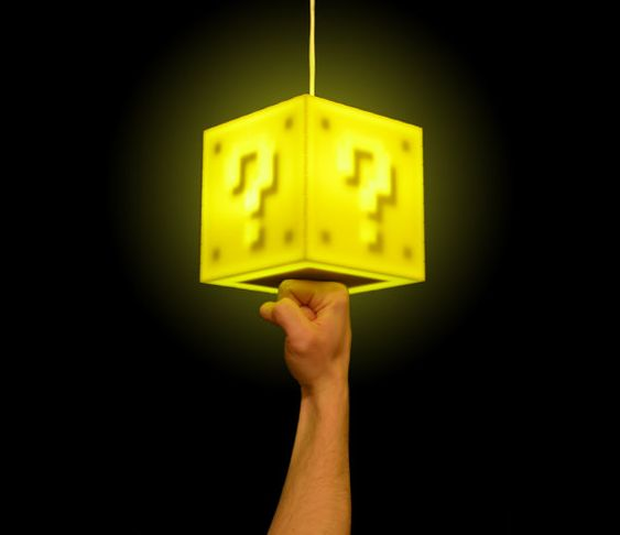 This made me think of you, Evan Aiyerereressss (Blevvy Poo)     Interactive Super Mario Coin Block Pendant Lamp. Punch it on. Punch it off. Get a coin noise--unless it's your eighth punch and you'll get a 1UP sound. NO FREAKIN' WAY. NO FREAKIN' WAYYYYYY!!!!!!
